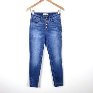 "Madewell 9"" High Rise Skinny Jeans w/Raw Hem - 25"